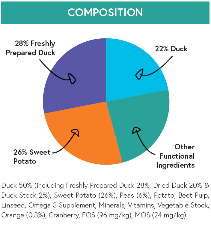 Composition - Duck with Sweet Potato and Orange for Adult Dogs