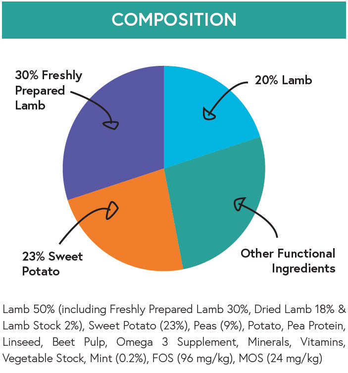 Composition - Lamb with Sweet Potato and Mint for Adult Dogs