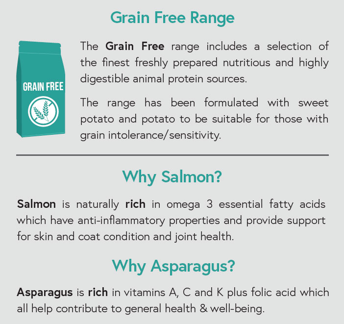 Grain Free - Salmon with Trout, Sweet Potato and Asparagus for Adult Dogs